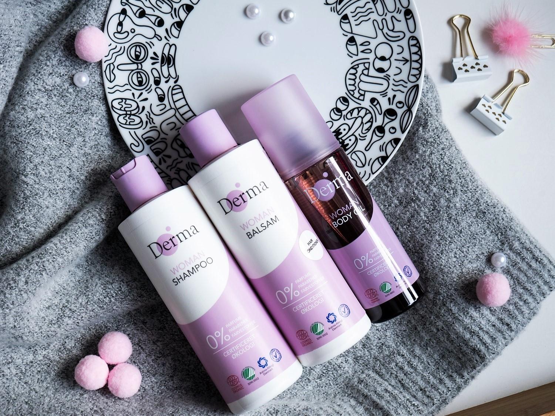 Zimowa pielęgnacja włosów Derma Eco Woman szampon, odżywka, olejek do ciała
