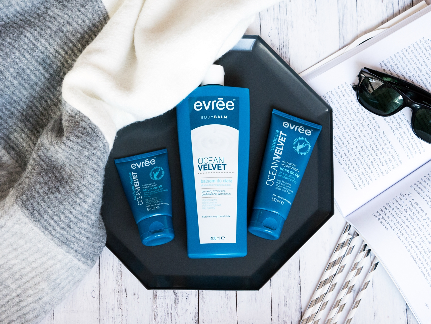 Evree Ocean Velvet balsam do ciała, serum i krem do dłoni