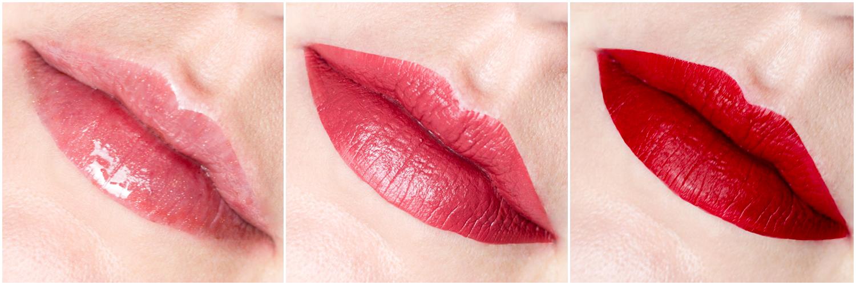 Fenty Beauty Gloss Bomb Universal Lip Luminizer w odcieniu Fenty Glow, Mattemoiselle Plush Matte Lipstick w odcieniu Spanked, Stunna Lip Paint Longwear Fluid Lip Color w odcieniu Uncensored swatch