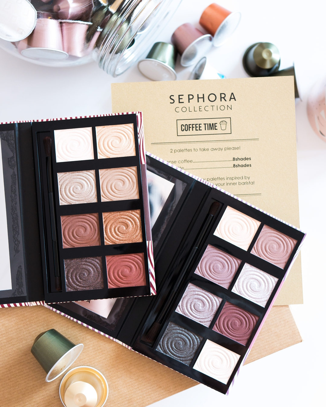 Sephora Palette To take away Intense coffee collection, Spicy latte collection